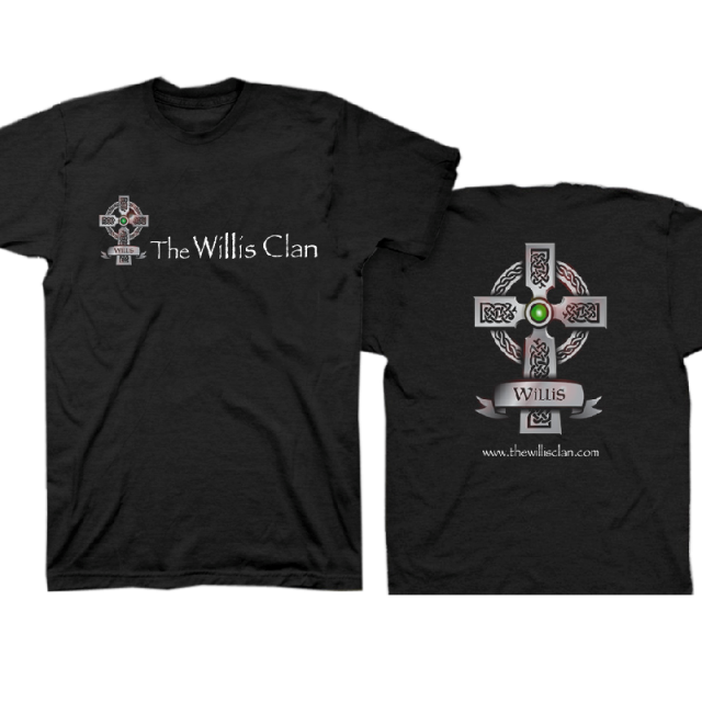 The Willis Clan Black Tee with Celtic Cross